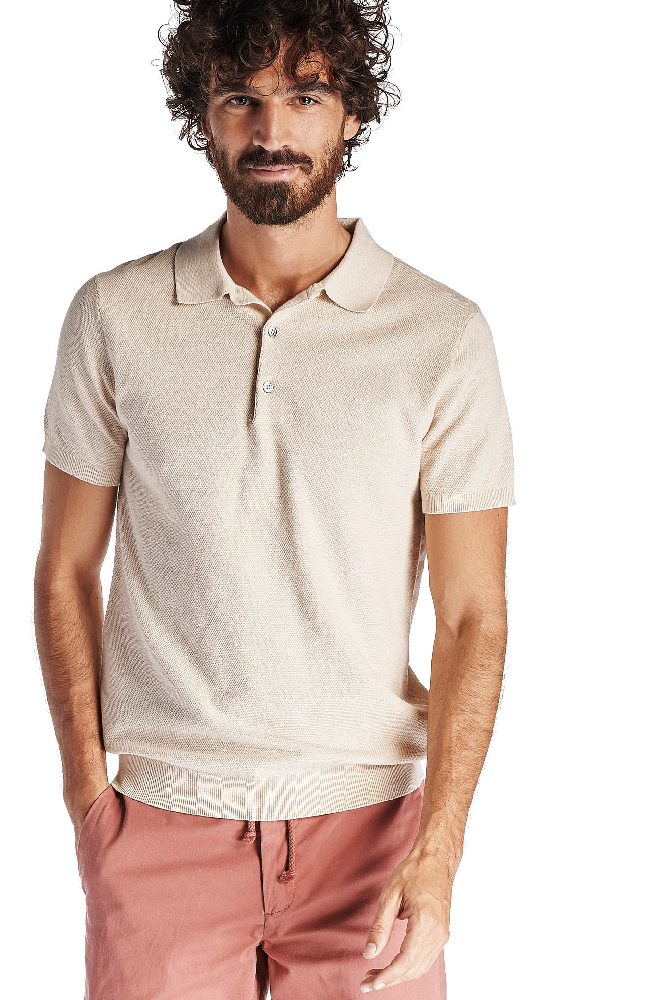 Polo Sweater Beige Casual Man
