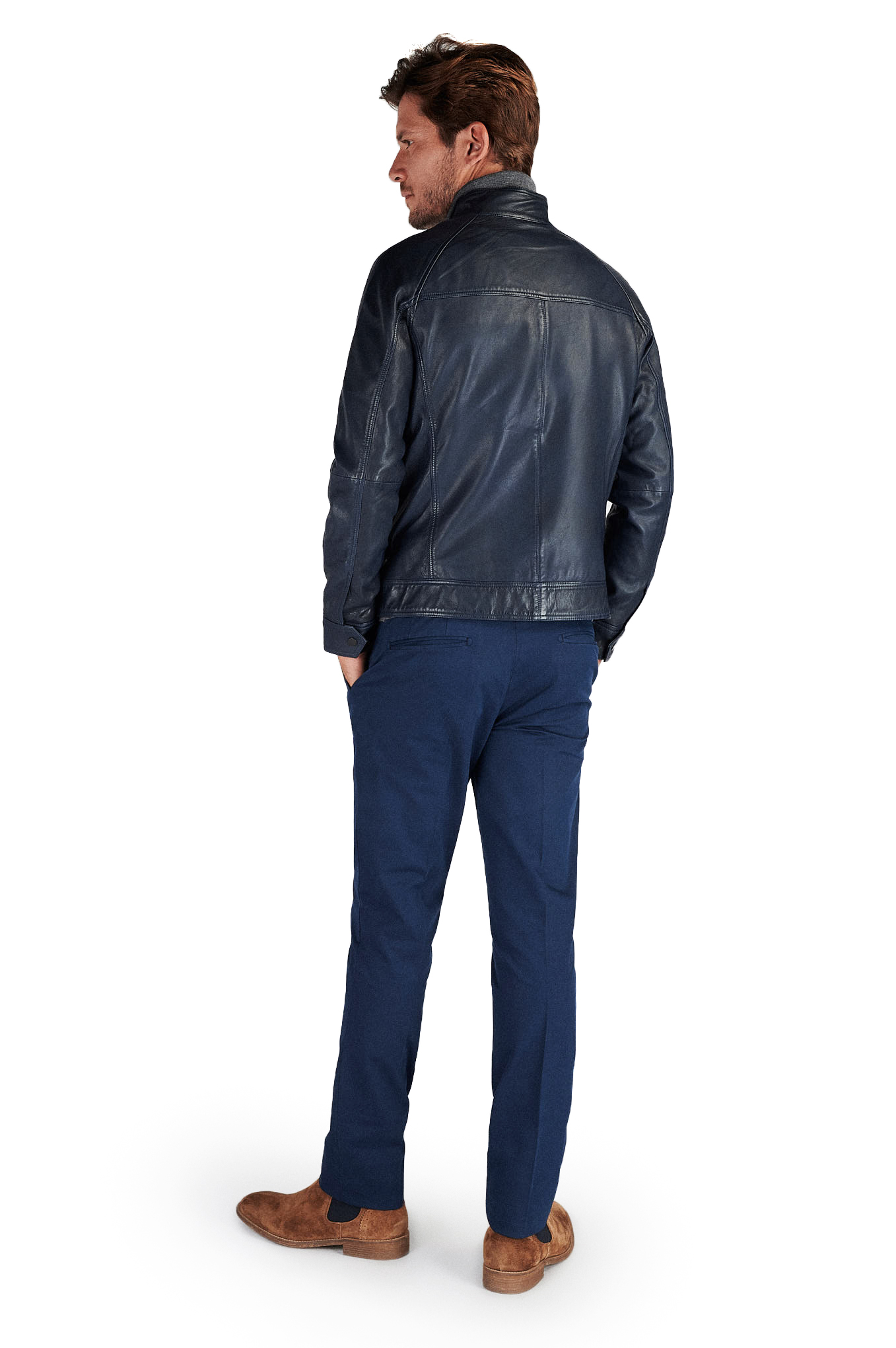 Leather Jacket Dark Blue Casual Man