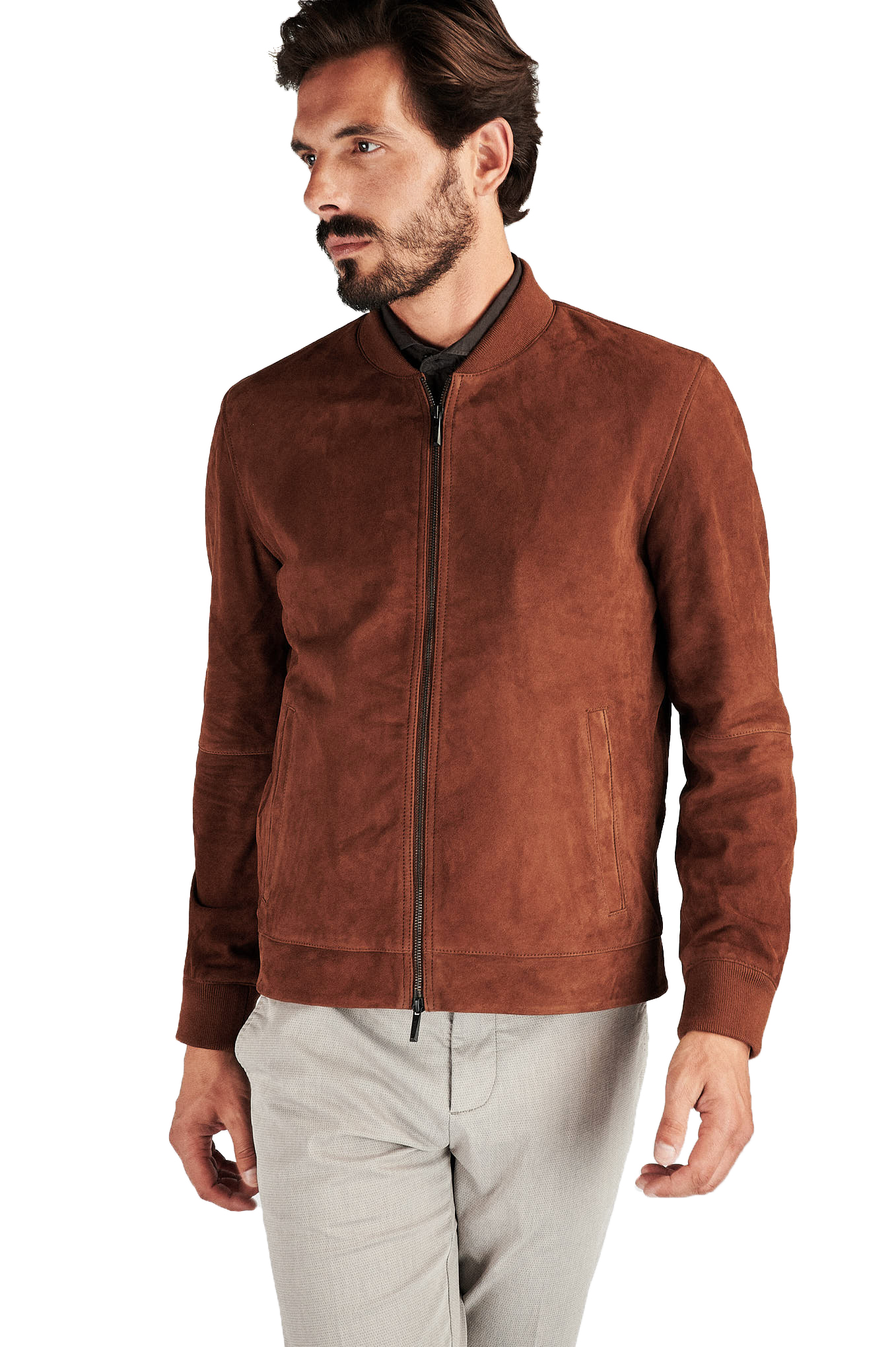 Leather Jacket Caramel Casual Man