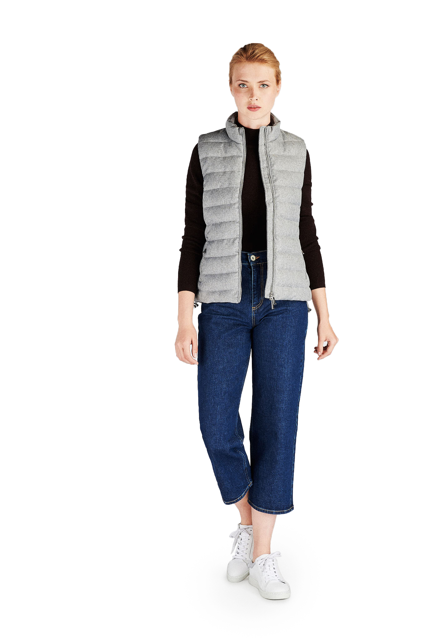 Waist Coat Mix Grey Casual Woman