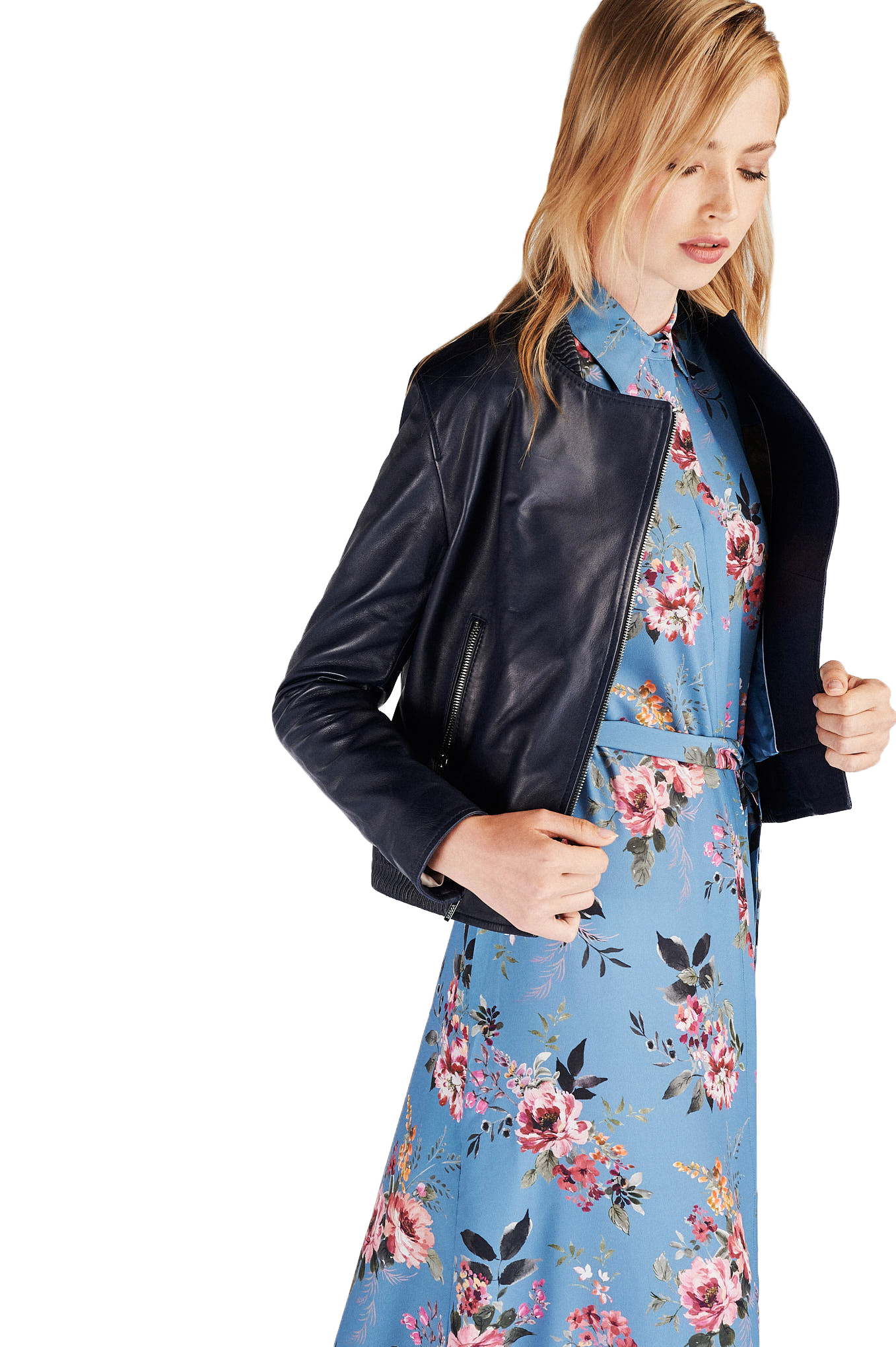 Leather Jacket Dark Blue Sport Woman