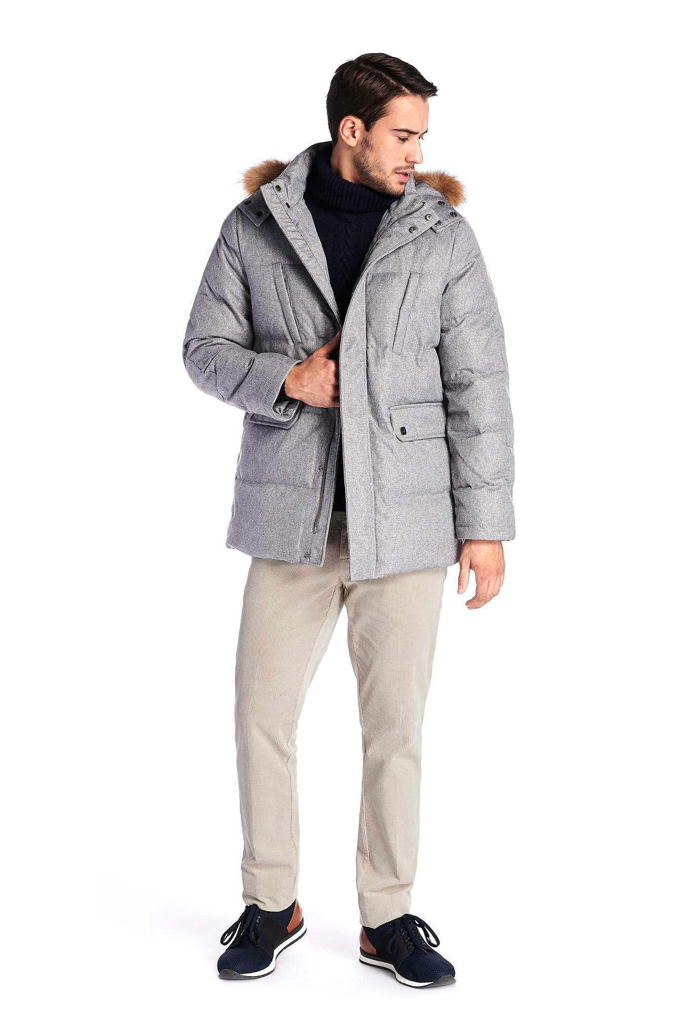 Parka Mix Grey Casual Man