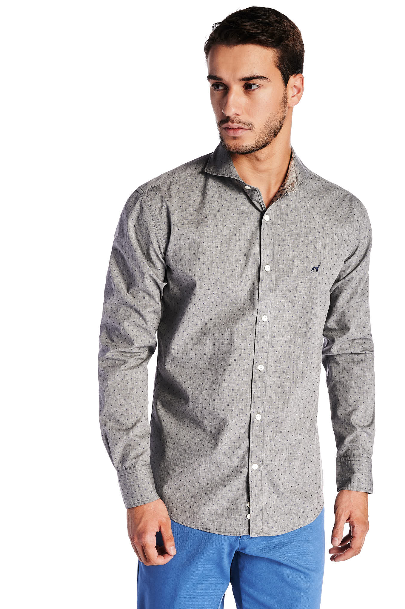 Shirt Mix Grey Casual Man