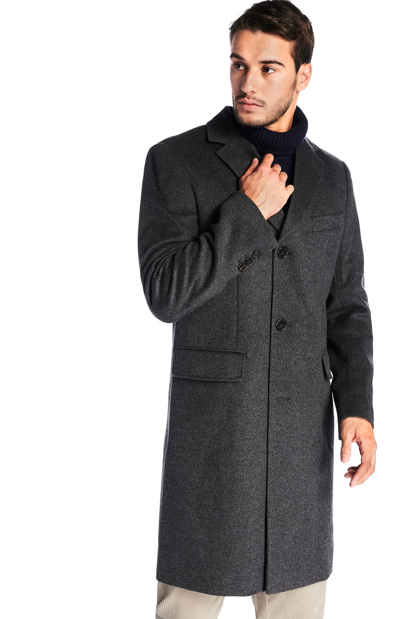 Overcoat Mix Grey Casual Man