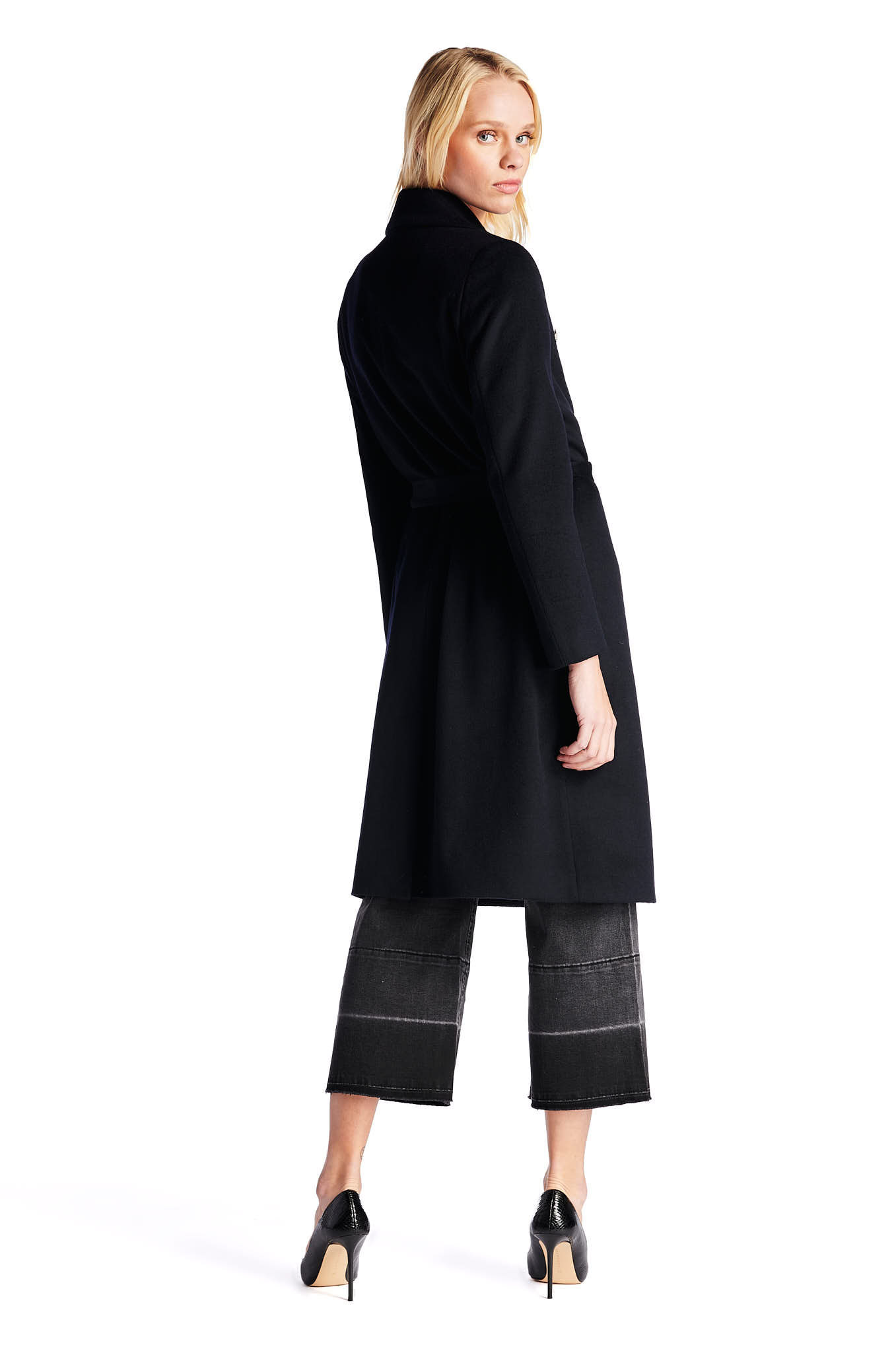 Overcoat Dark Blue Casual Woman
