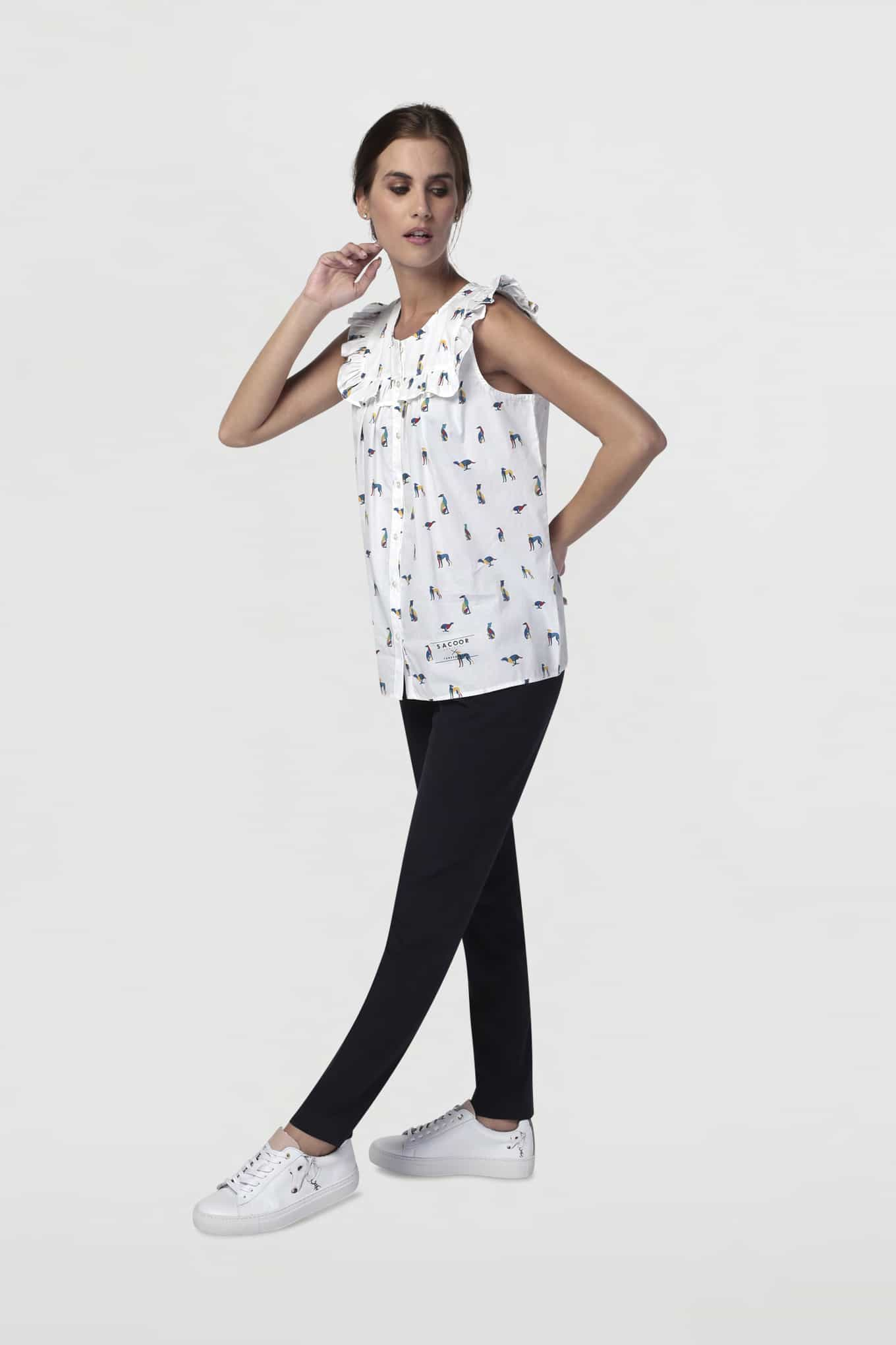 Blouse White Casual Woman