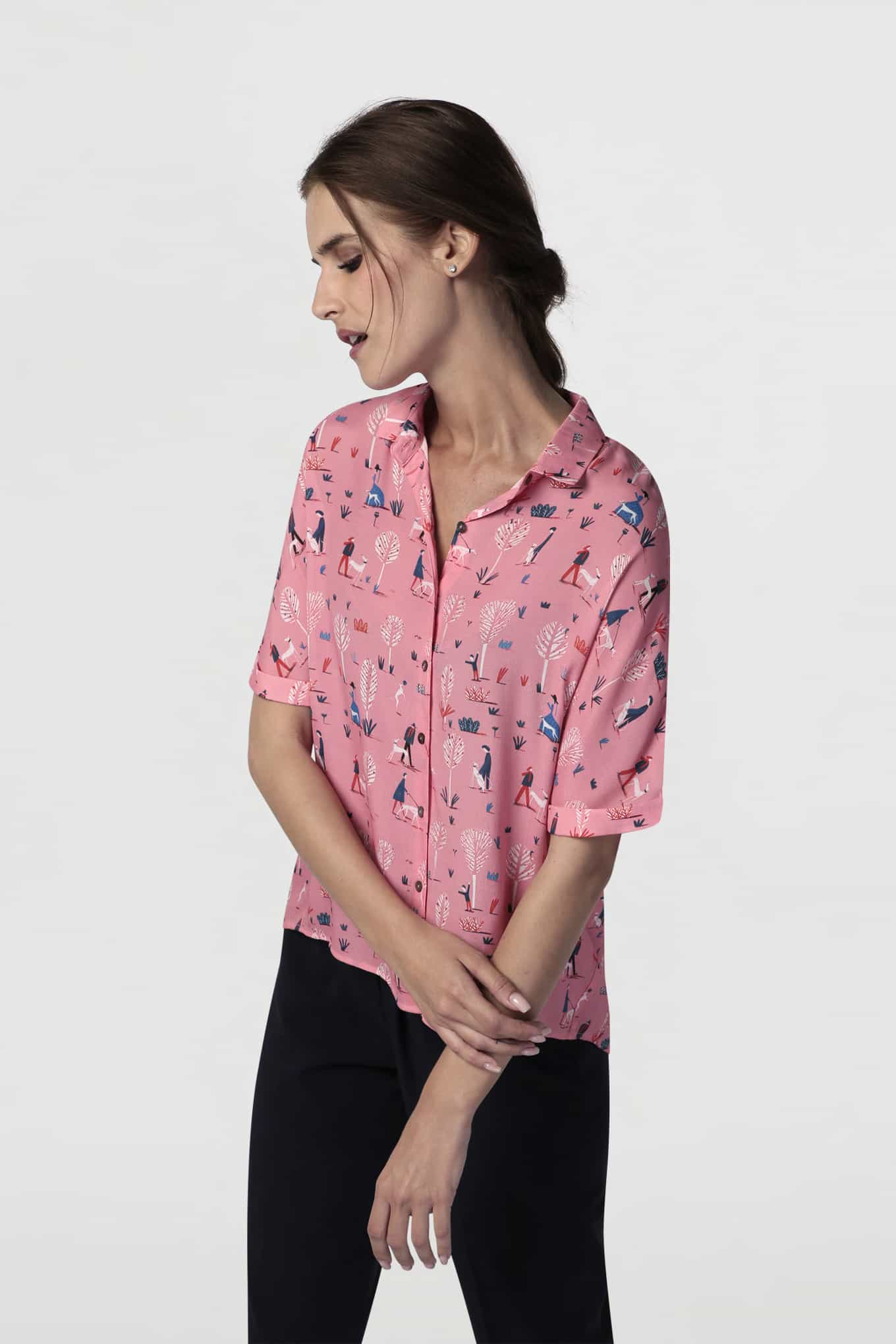 Blouse Pink Casual Woman