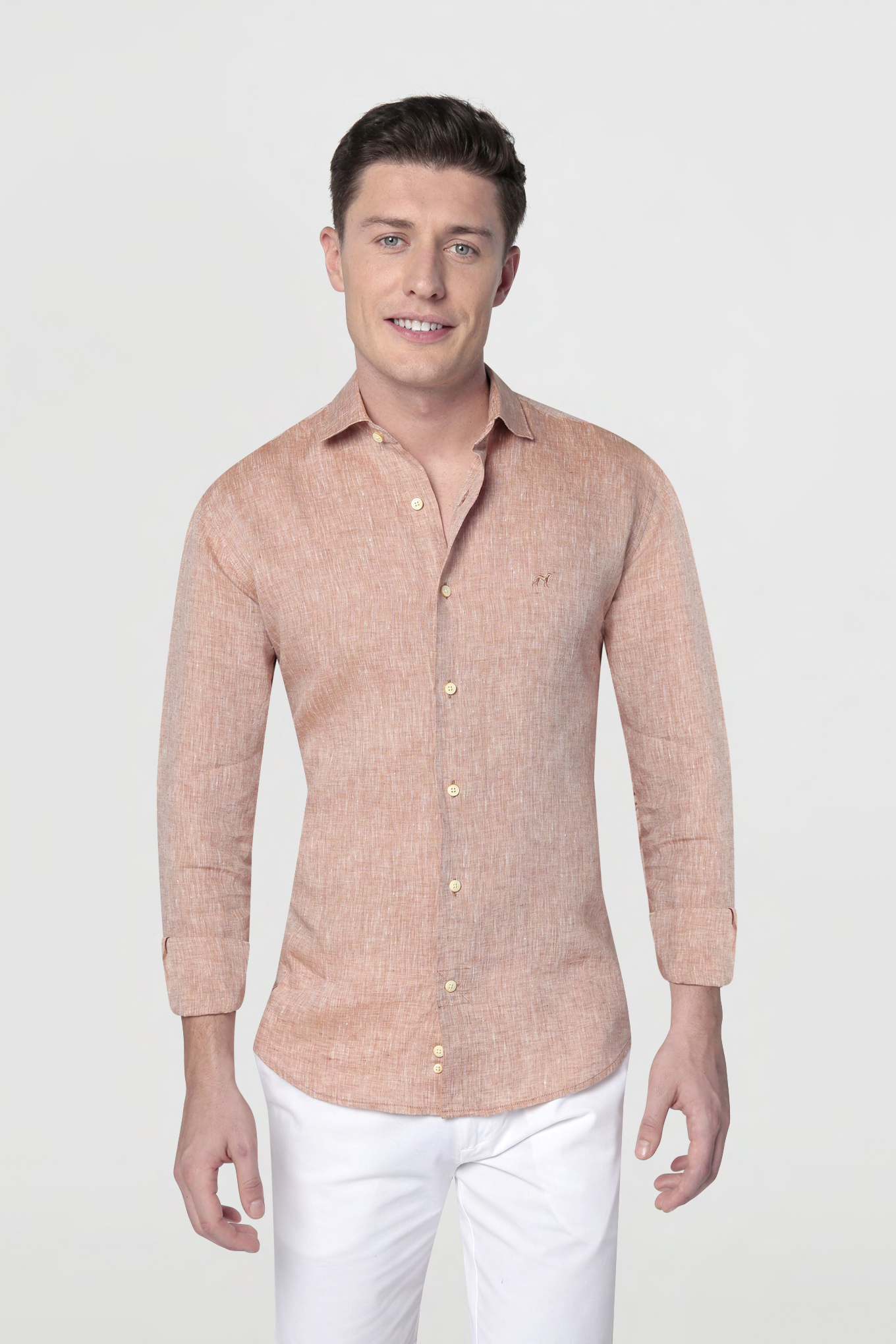 Shirt Orange Casual Man