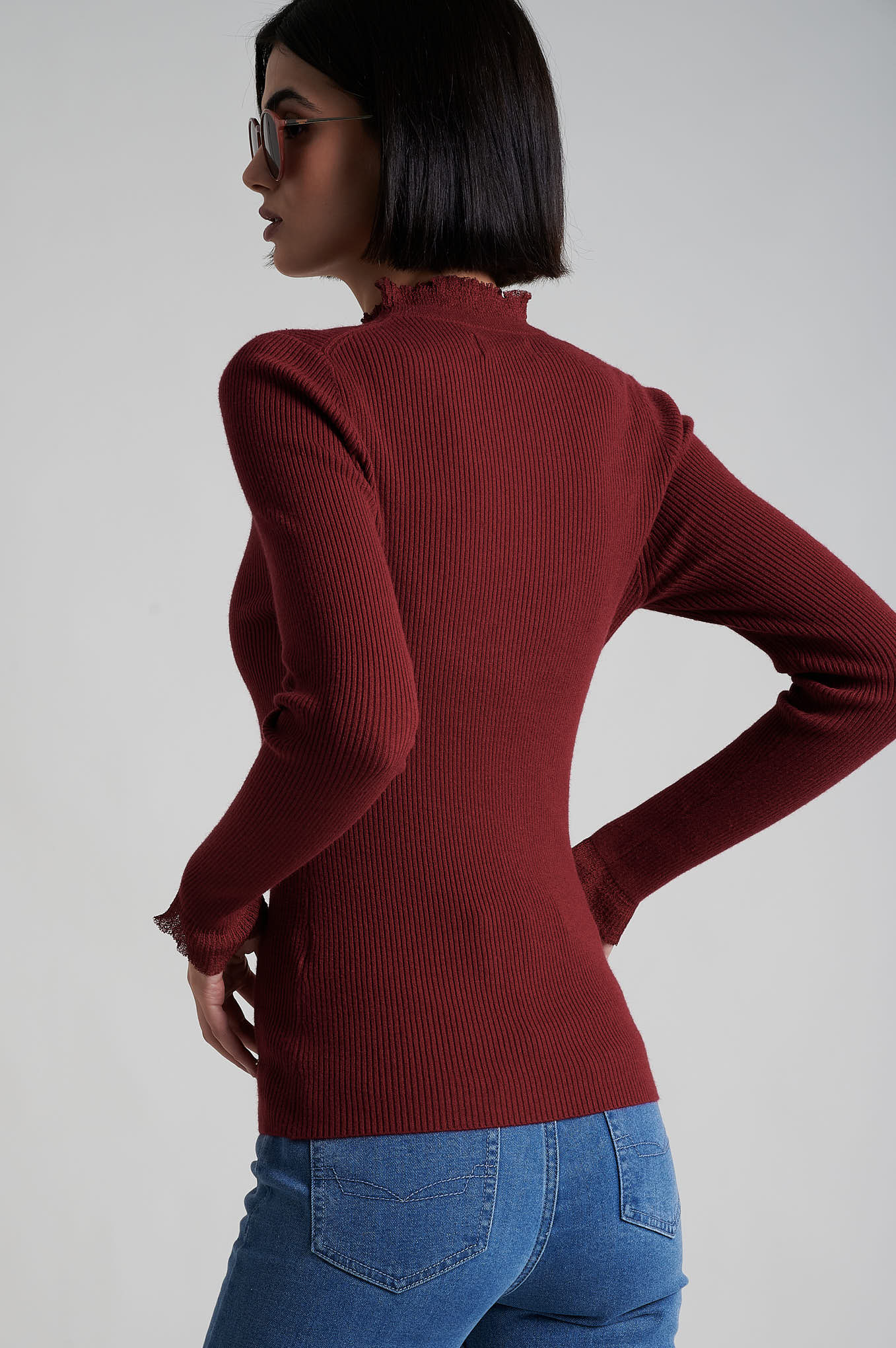Sweater Dark Red Casual Woman